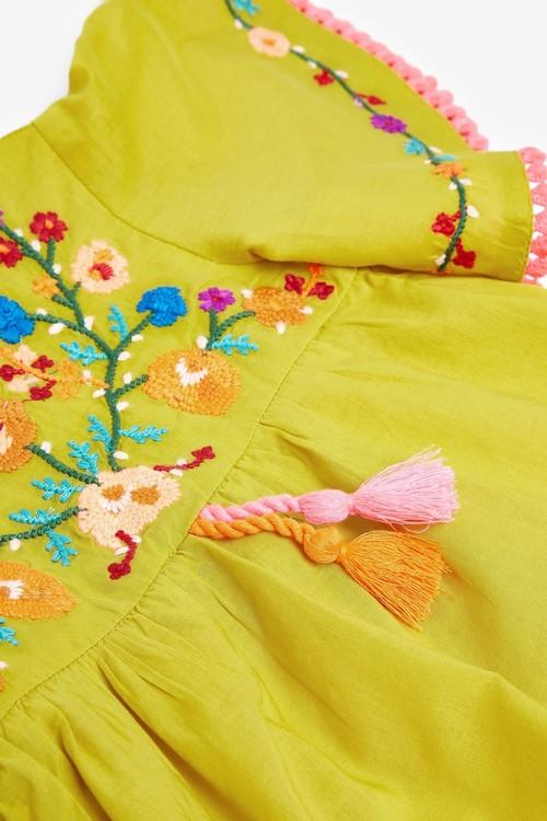 Next Embroidered Cotton Kaftan Dress (3mths-7yrs)