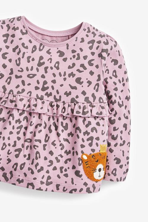 Next Leopard Frill Empire T-Shirt (3mths-7yrs)