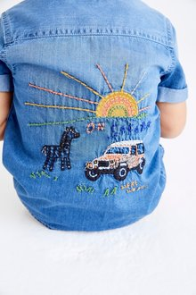 Next Short Sleeve Safari Embroidered Shirt (3mths-7yrs) - 289528
