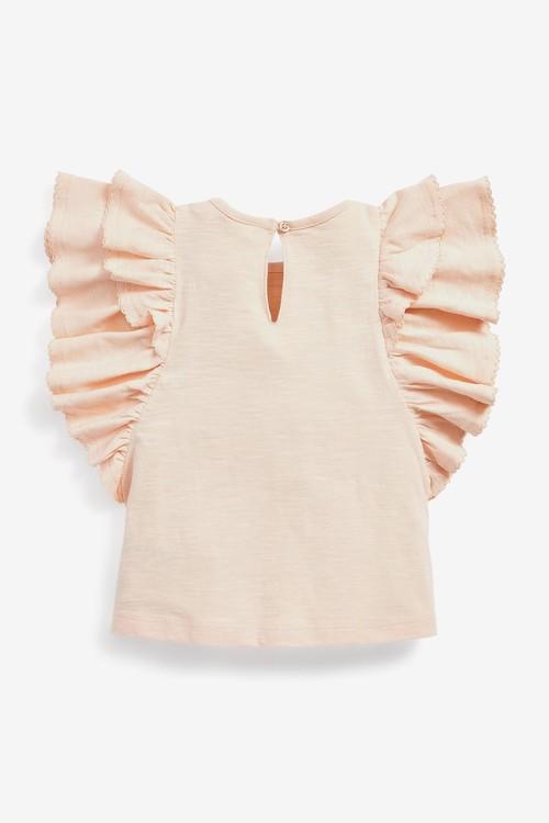 Next Organic Cotton Flower Frill T-Shirt (3mths-7yrs)