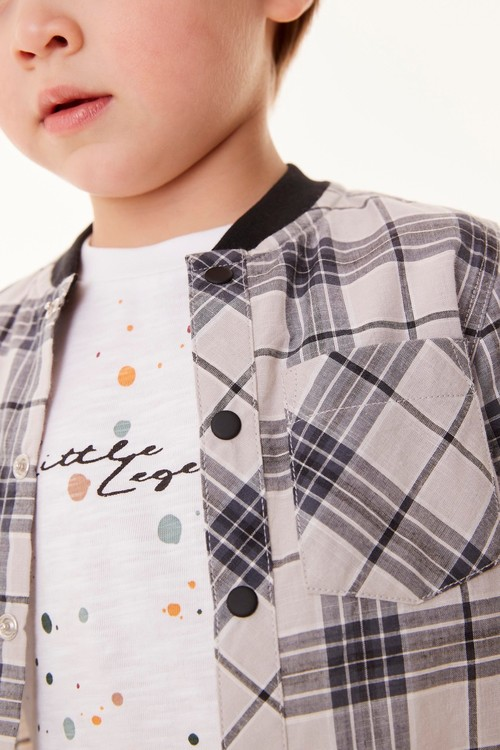 Next Check Shirt And Printed T-Shirt Set (3mths-7yrs)