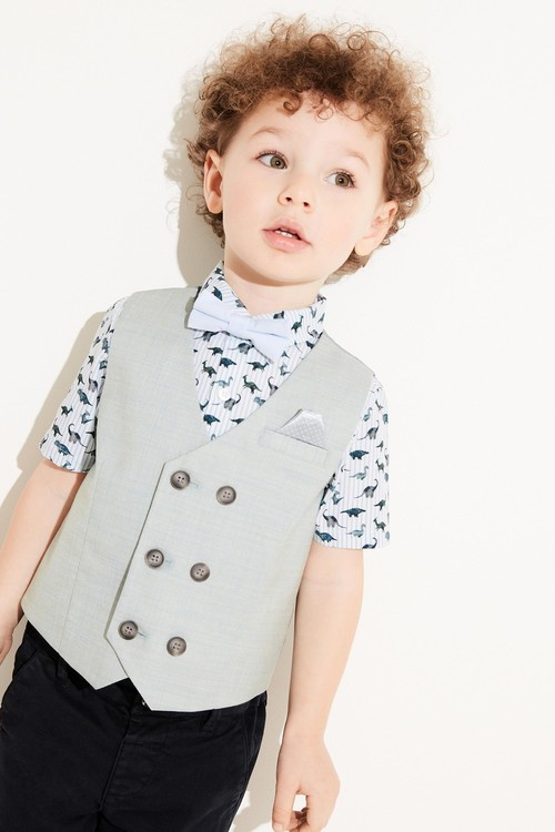 Next Double Breasted Waistcoat, Shirt And Bow Tie Set (3mths-7yrs)
