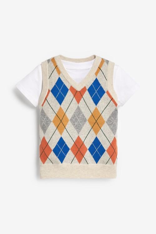 Next Rainbow Argyle Pattern Tank Top And T-Shirt Set (3mths-7yrs)
