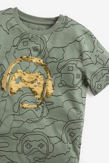 Next Flippy Sequin Gaming Short Sleeve Jersey T-Shirt (3-16yrs) - 289602