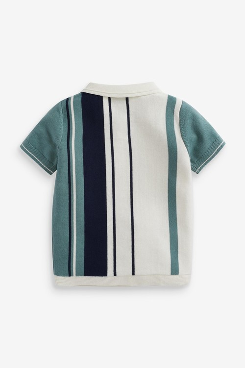 Next Knitted Vertical Stripe Poloshirt (3mths-7yrs)