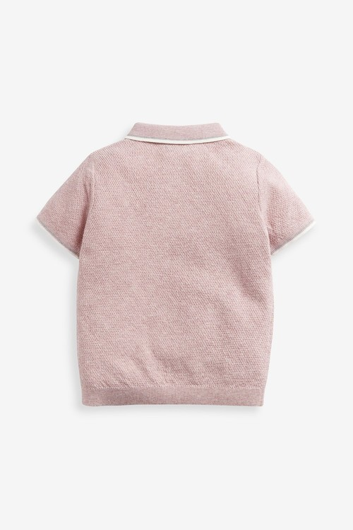 Next Knitted Textured Poloshirt (3mths-7yrs)