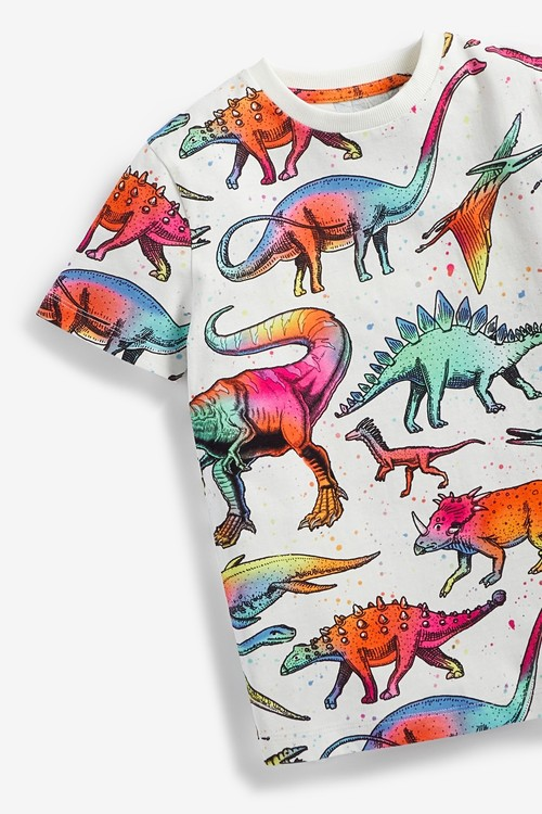 Next Rainbow Dino All Over Print T-Shirt (3-14yrs)