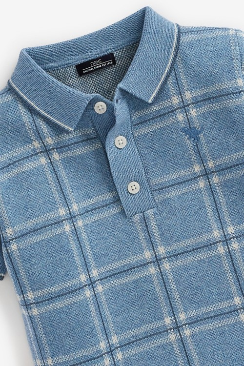 Next Knitted Check Polo (3mths-7yrs)