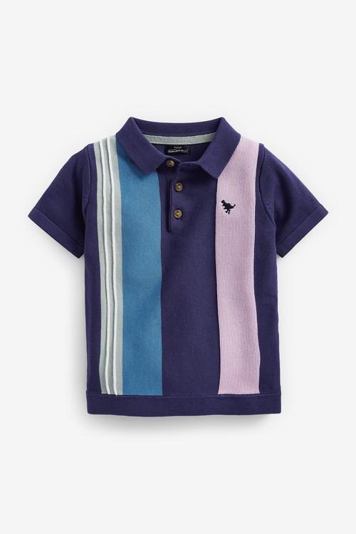 Next Knitted Vertical Stripe Zip Neck Poloshirt (3mths-7yrs)