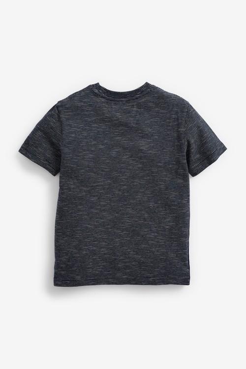 Next Short Sleeve Textured Chest Stripe T-Shirt (3-16yrs)