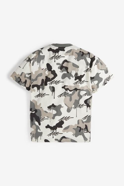 Next Camo Short Sleeve Relaxed Drop Shoulder Fit T-Shirt (3-16yrs)