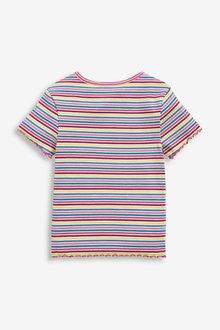 Next Ribbed Rainbow Stripe T-Shirt (3-16yrs) - 289698