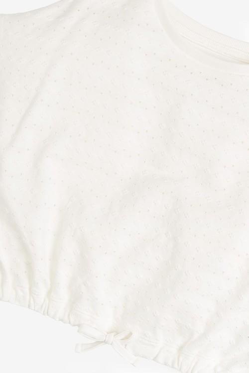 Next Broderie Front Drawstring T-Shirt (3-16yrs)