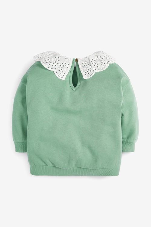 Next Broderie Collar Sweatshirt (3mths-7yrs)