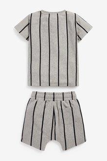 Next Vertical Stripe T-Shirt and Shorts Set (3mths-7yrs) - 290176