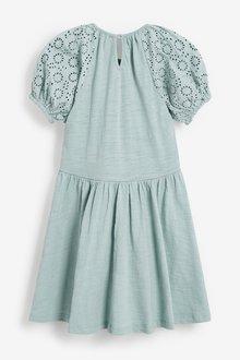 Next Broderie Puff Sleeve Dress (3-16yrs) - 290183