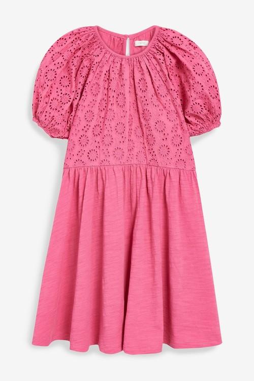 Next Broderie Puff Sleeve Dress (3-16yrs)