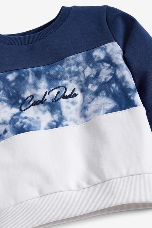 Next Colourblock Jersey Tie Dye Crew Neck Sweater (3mths-7yrs)