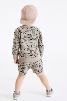Next All Over Print Crew And Shorts Set (3mths-7yrs) - 290512