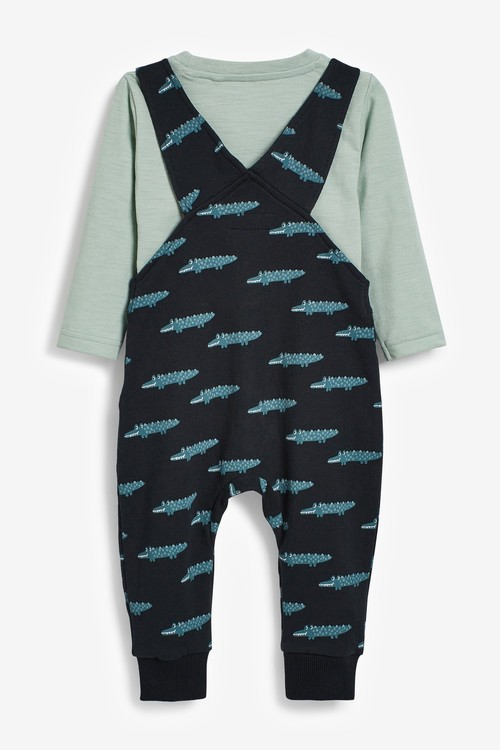 Next Crocodile All Over Printed Jersey Dungarees And T-Shirt Set (3mths-