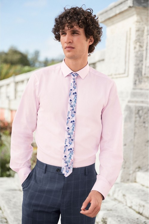 Next Trim Detail Shirt And Printed Tie Set