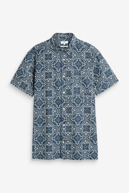 Next Geo Print Short Sleeve Shirt