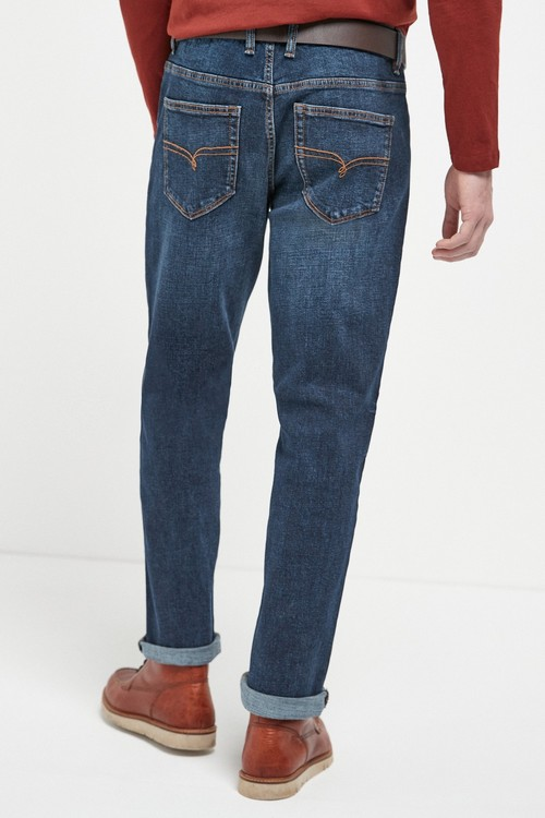 Next Belted Jeans With Stretch-Straight Fit