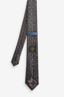 Next Spot Tie With Printed Pocket Square And Tie Clip Set - 290846