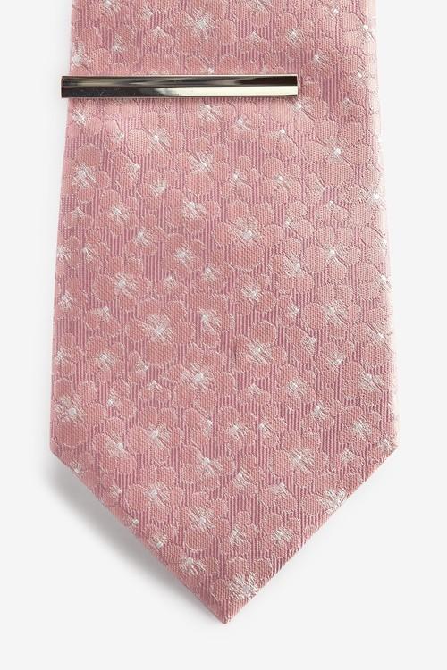 Next Floral Tie And Tie Clip Set
