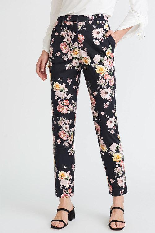 Euro Edit Black Floral Printed Pant