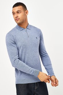 Next Knitted Zip Neck Poloshirt - 291313