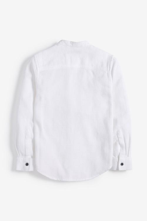 Next Long Sleeve Textured Grandad Shirt (3-16yrs)
