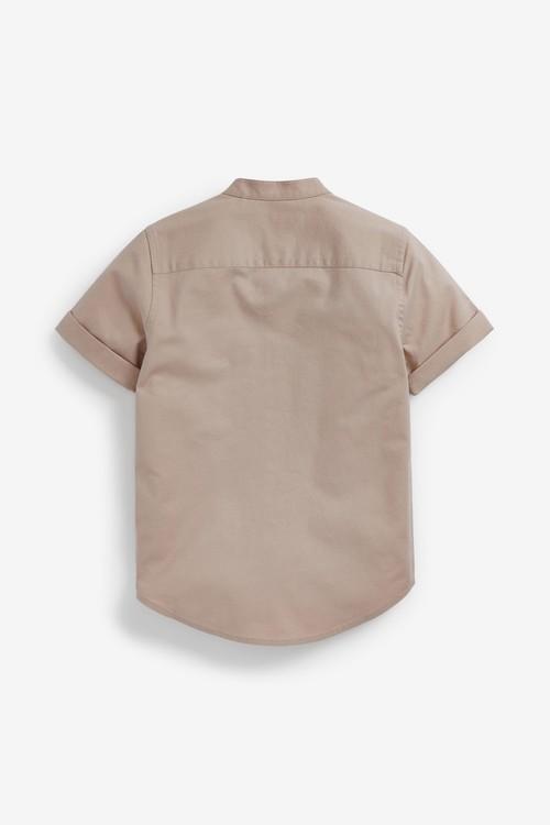 Next Short Sleeve Oxford Shirt With Grandad Collar (3-16yrs)
