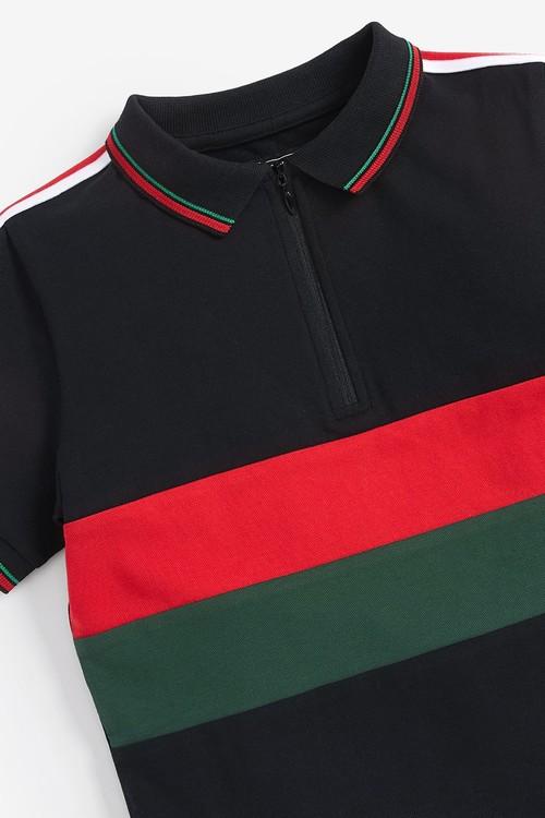 Next Colourblock Zip Neck Polo (3-16yrs)
