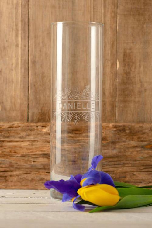 Personalised Fern Design Glass Vase