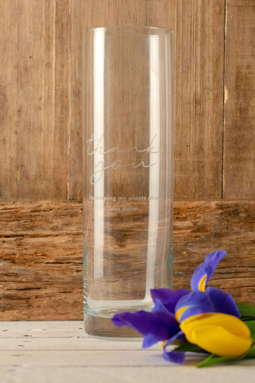 Personalised Thank You Glass Vase