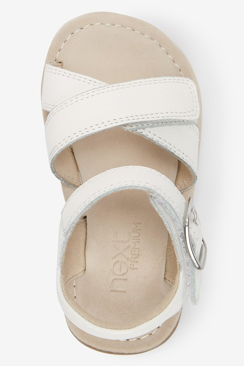 Next Premium Leather Cross Strap Sandals (Younger)