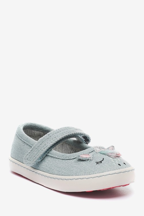 Next Canvas Mary Jane Shoes (Younger)-Wide Fit