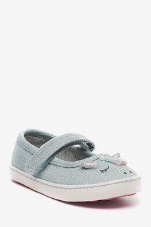 Next Canvas Mary Jane Shoes (Younger)-Wide Fit - 291720