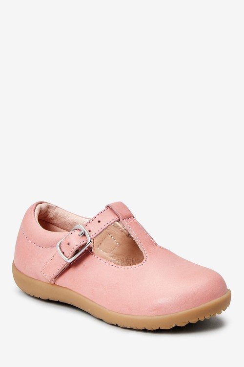 Next Premium Leather T-Bar Shoes (Younger)-Wide Fit