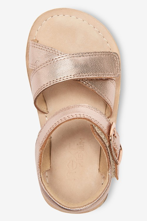 Next Premium Leather Cross Strap Sandals (Younger)-Wide Fit