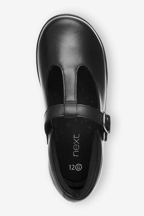 Next Junior Leather T-Bar Shoes (Older)-Wide Fit