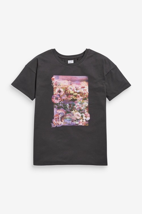 Next Oversized Floral Graphic T-Shirt