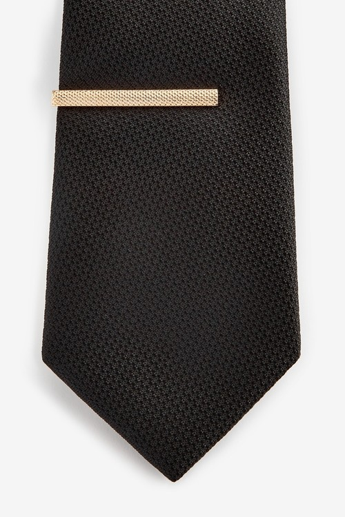 Next Textured Tie With Tie Clip Set