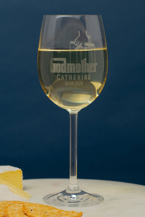 Personalised Godmother Wine Glass