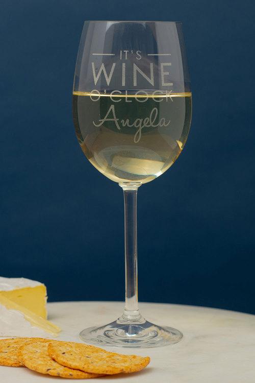 Personalised Its Wine O'clock Wine Glass