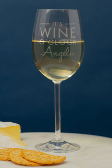 Personalised Its Wine O'clock Wine Glass - 291918