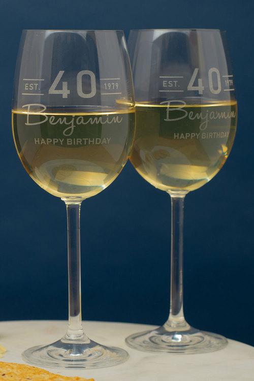Personalised Est Happy Birthday Wine Glass Set of 6