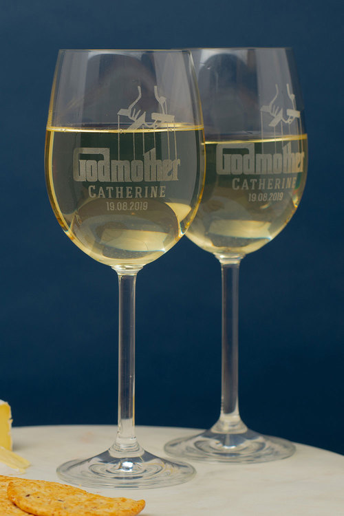 Personalised Godmother Wine Glass Set of 6