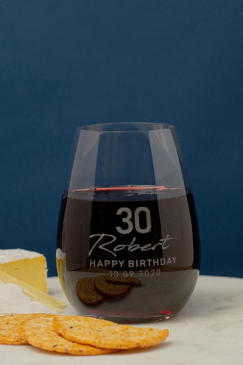 Personalised #Happy Birthday Stemless Wine Glass